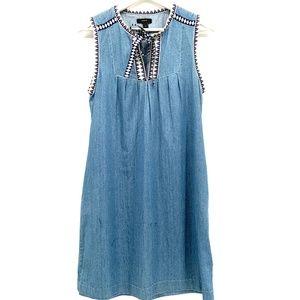 J. Crew Chambray Denim Sleeveless Tunic Dress